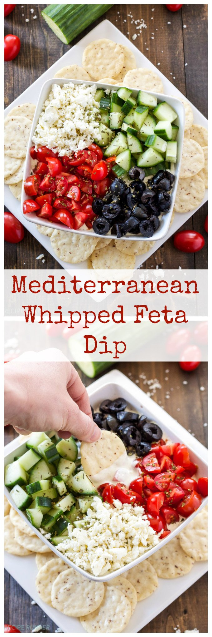 Mediterranean Whipped Feta Dip | This gluten free delicious dip is full of Mediterranean flavors and perfect for summer! #ad