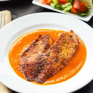 Parmesan Crusted Tilapia with Roasted Red Pepper Sauce | A simple broiled tilapia recipe with a sauce you'll fall in love with!