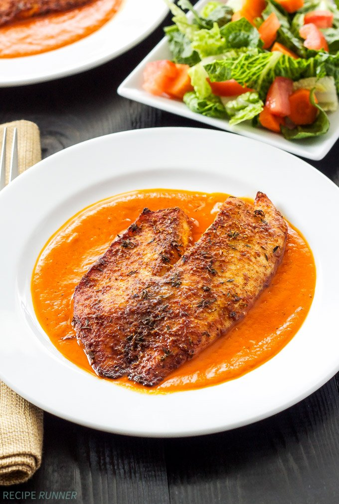 Parmesan Crusted Tilapia With Roasted Red Pepper Sauce Recipe Runner