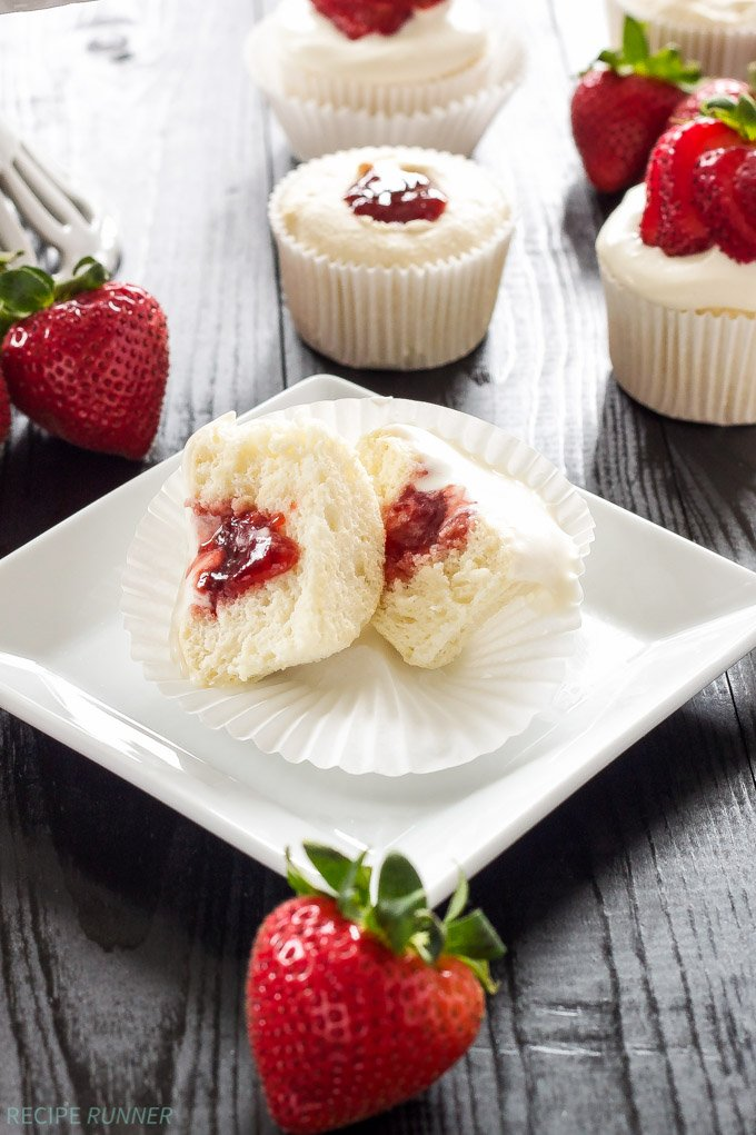 Strawberry Cream Cheese Filled Angel Food Cake