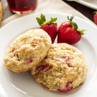 Strawberry Rhubarb Yogurt Scones | Sweet tender scones lightened up with creamy yogurt! #AussieStyle #ad