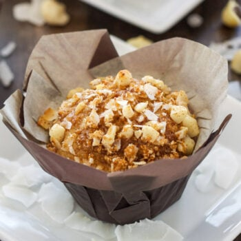 Tropical Muffins with Macadamia-Coconut Topping | Tropical flavored muffins with a sweet crunchy topping! Perfect for brunch!