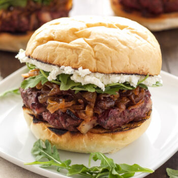 Bacon Burgers with Bourbon Caramelized Onions & Honey Goat Cheese + A SABER Grills Giveaway! | Bourbon, bacon, and goat cheese, what more do you need in a burger recipe?!