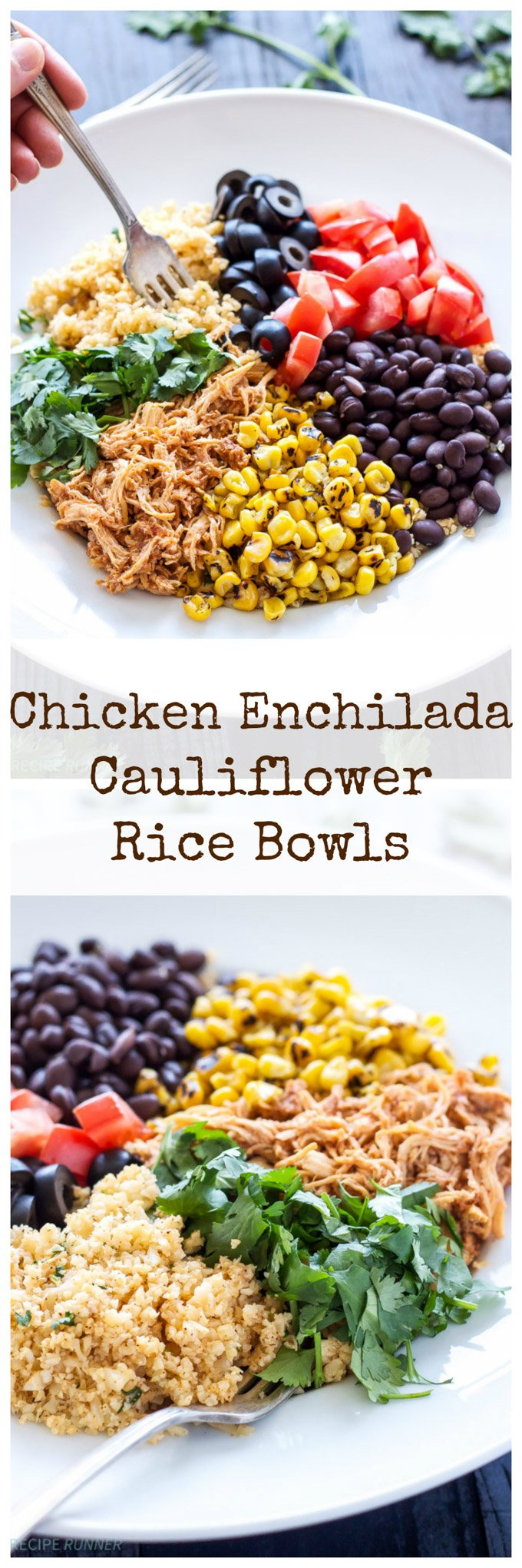 Chicken Enchilada Cauliflower Rice Bowls | This easy to make chicken enchilada bowl recipe uses cauliflower in place of rice for a healthy and delicious dinner!