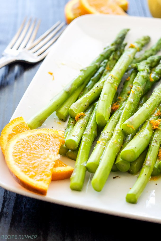 Chilled Asparagus with Citrus Vinaigrette | Crisp cold asparagus tossed in a delicious citrus vinaigrette!