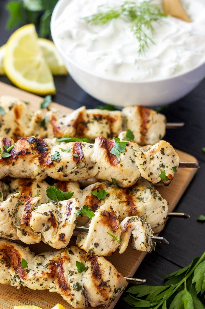 Greek Lemon Chicken Skewers With Tzatziki Sauce | Savory Skewer Recipes | Quick And Easy Homemade Recipes