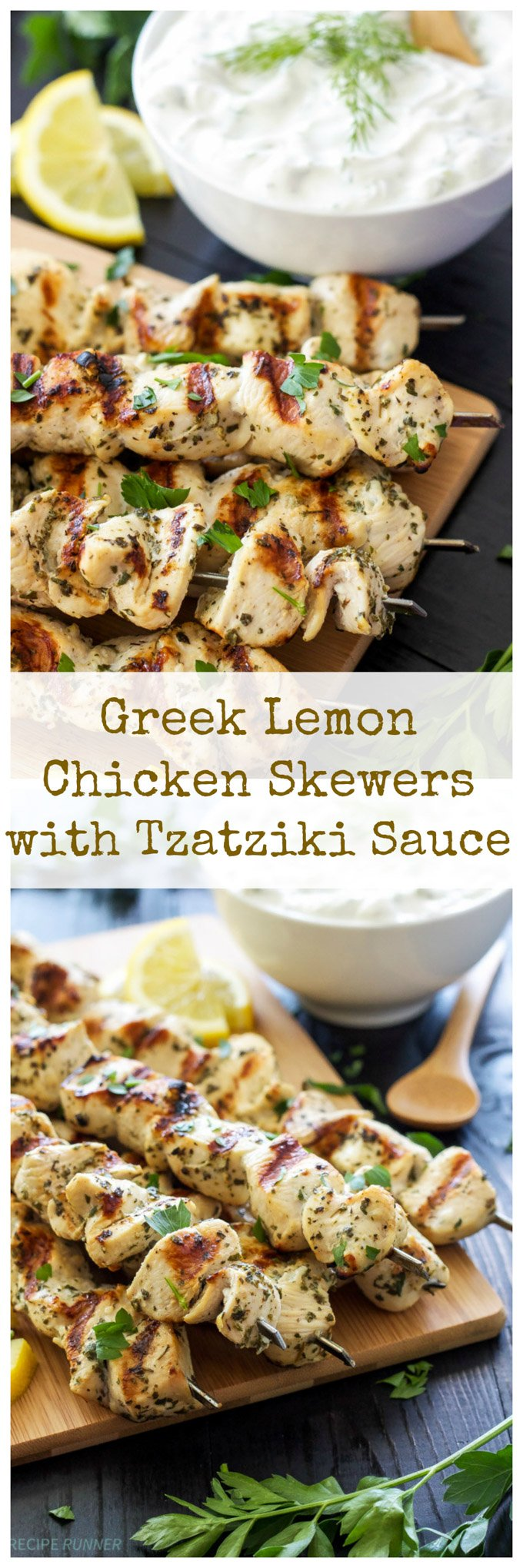 Greek Lemon Chicken Skewers with Tzatziki Sauce | Delicious and healthy Greek chicken skewers with a sauce you'll want to slather on everything! #greekchicken #skewers #tzatziki #healthydinner #glutenfree