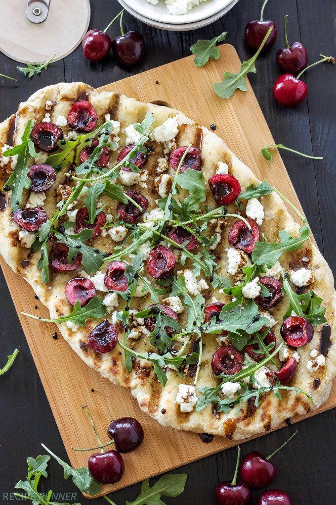 grilled cherry goat cheese and arugula pizza recipe runner