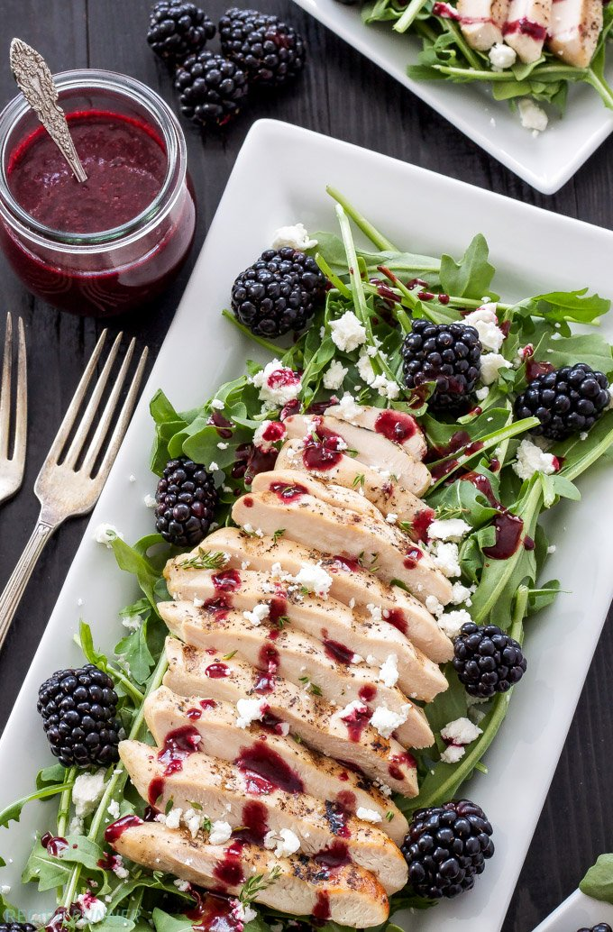 Grilled Chicken and Goat Cheese Salad with Blackberry Vinaigrette   Blackberries, goat cheese, and grilled chicken are the perfect toppings on this summer salad!