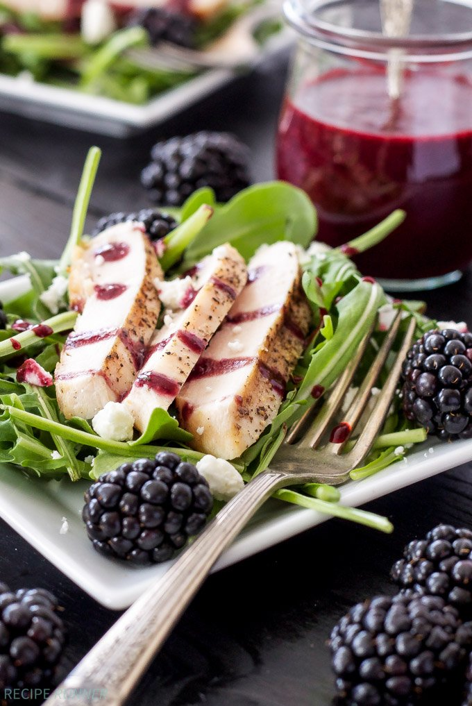 Grilled Chicken and Goat Cheese Salad with Blackberry Vinaigrette | Blackberries, goat cheese, and grilled chicken are the perfect toppings on this summer salad!