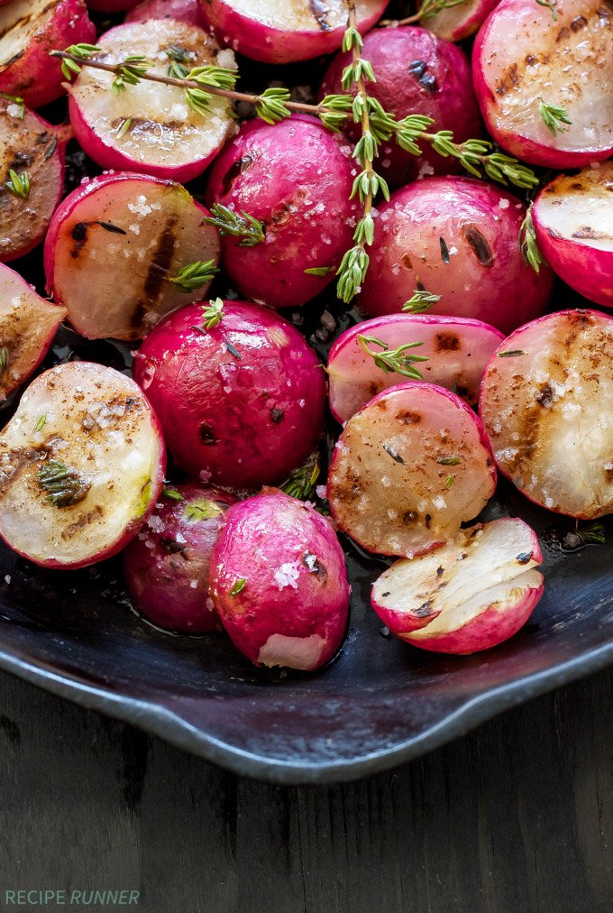 Grilled Radishes with Brown Butter Thyme & Sea Salt   You'll never think of a radish as boring after you taste these!