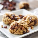 Healthy No Bake Oatmeal Raisin Cookies | A healthy oatmeal raisin version of the classic no bake cookies!