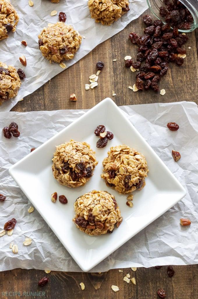 Healthy No Bake Oatmeal Raisin Cookies   A healthy oatmeal raisin version of the classic no bake cookies!