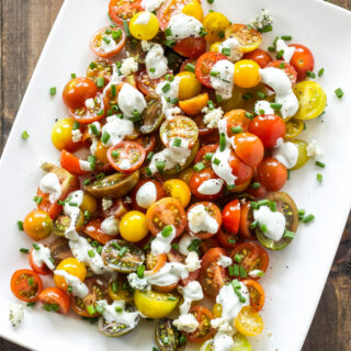 Heirloom Tomato and Blue Cheese Salad | This simple, fresh, tomato salad recipe is one of my favorites to make in the summer!