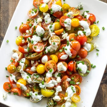 Heirloom Tomato and Blue Cheese Salad   This simple, fresh, tomato salad recipe is one of my favorites to make in the summer!