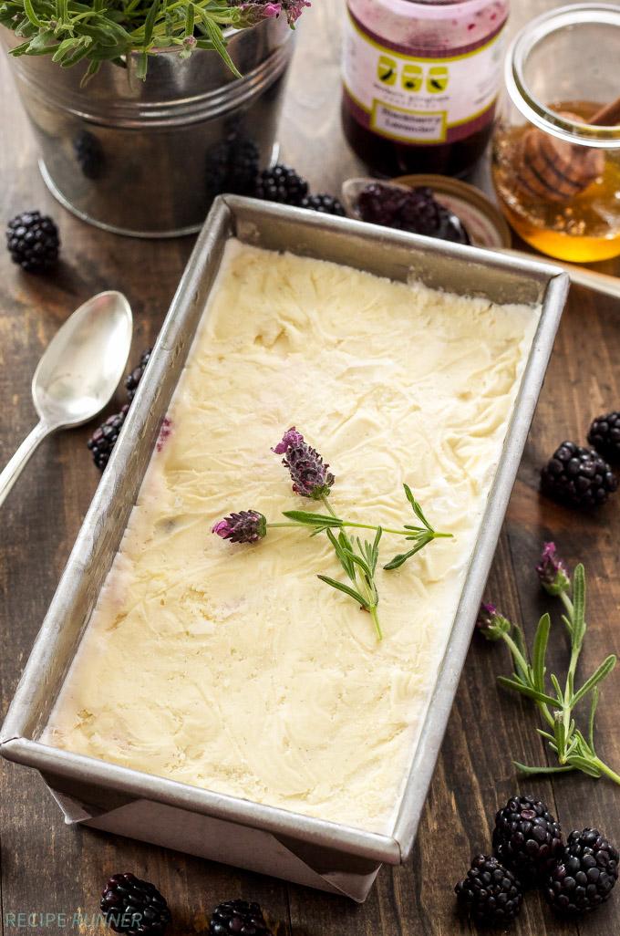 Honey Ice Cream with Blackberry Lavender Jam   Amazing honey sweetened vanilla ice cream swirled with blackberry lavender jam!