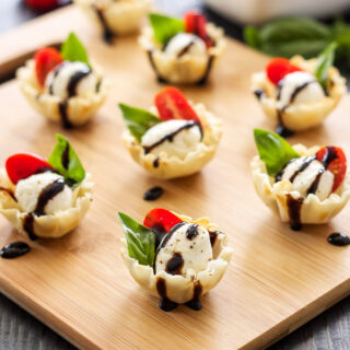 Mini Caprese Cups in mini phyllo shells