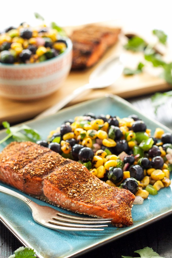 Grilled Salmon with Blueberry Corn Salsa | Blueberry and corn salsa ...