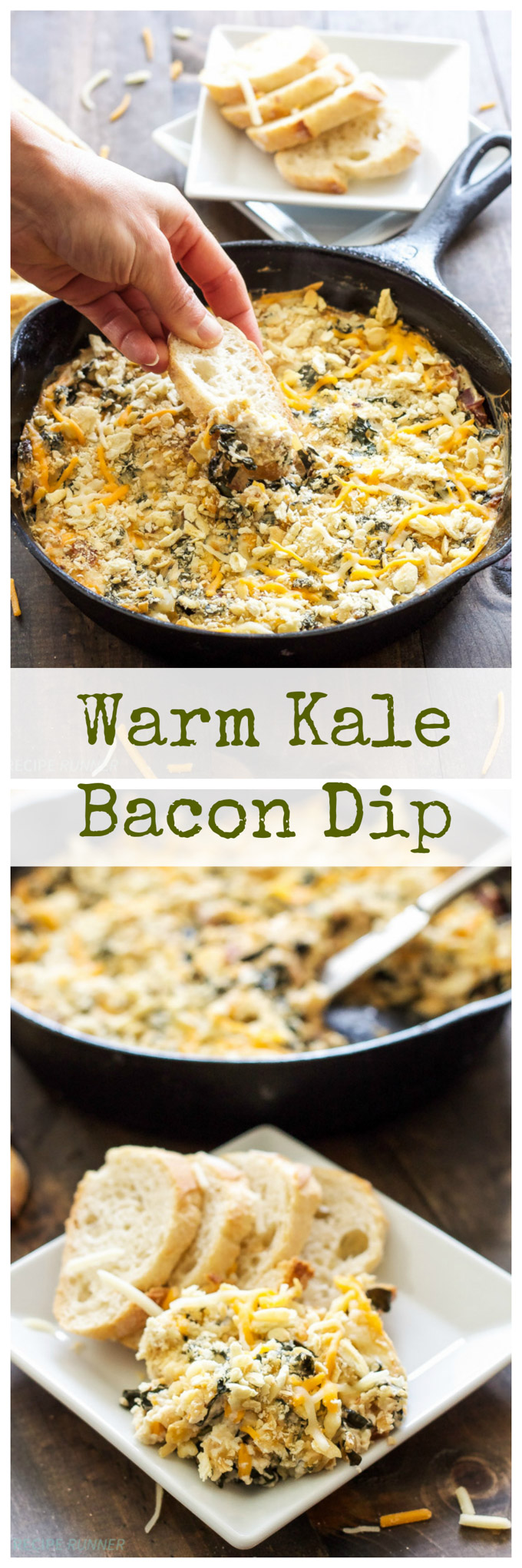 Warm Kale Bacon Dip | If you love cheese you will love this warm, cheesy, creamy kale bacon dip! #ChoppedAtHome #ad
