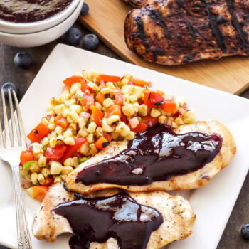 Grilled Chicken with Blueberry Barbecue Sauce and Corn Salsa   Blueberries add a fruity twist to this delicious BBQ sauce! Paired with grilled chicken & corn salsa for the perfect summer meal! #EatTheRainbow