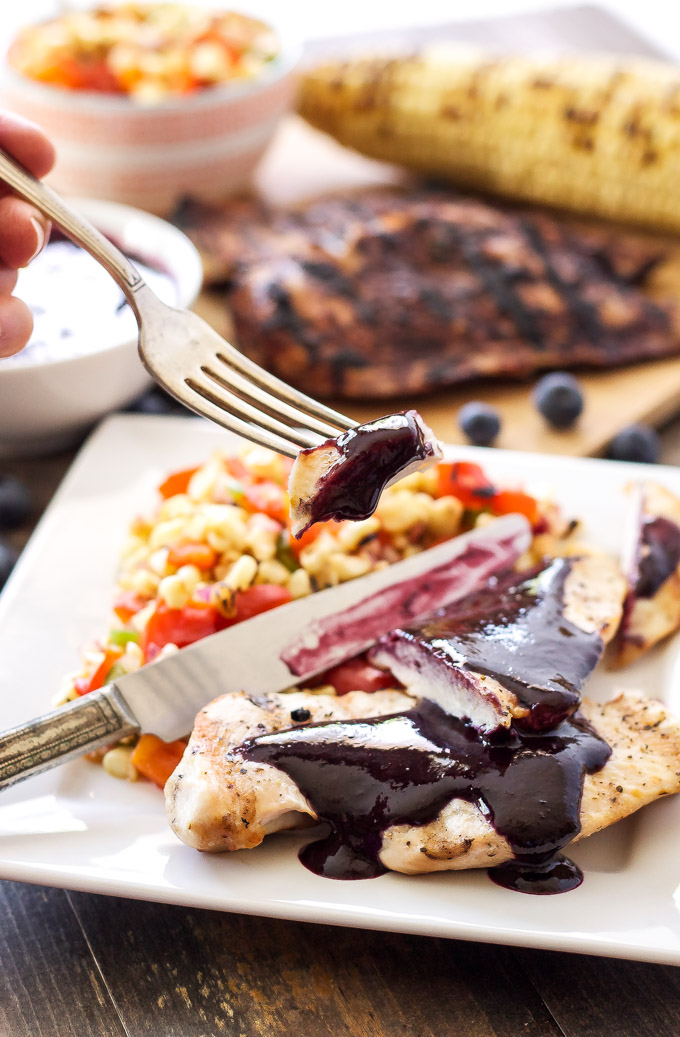 Grilled Chicken with Blueberry Barbecue Sauce and Corn ...