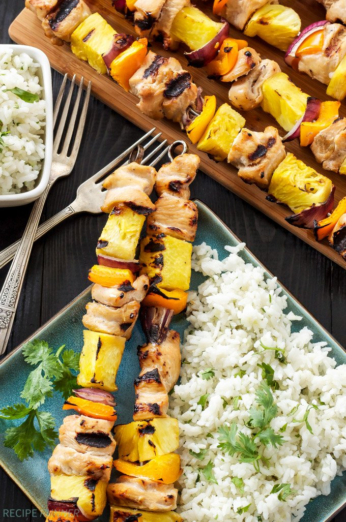 Hawaiian Chicken Skewers With Cilantro Coconut Rice Recipe Runner