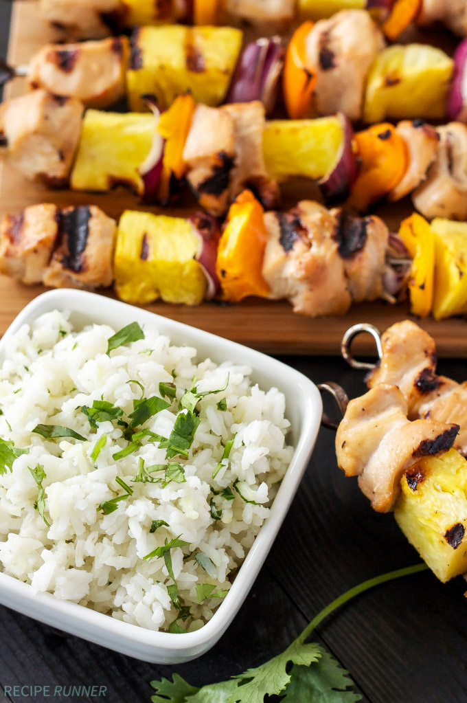 Hawaiian Chicken Skewers with Cilantro Coconut Rice   Grilled Chicken and pineapple are a delicious Hawaiian combination in these easy to make skewers!