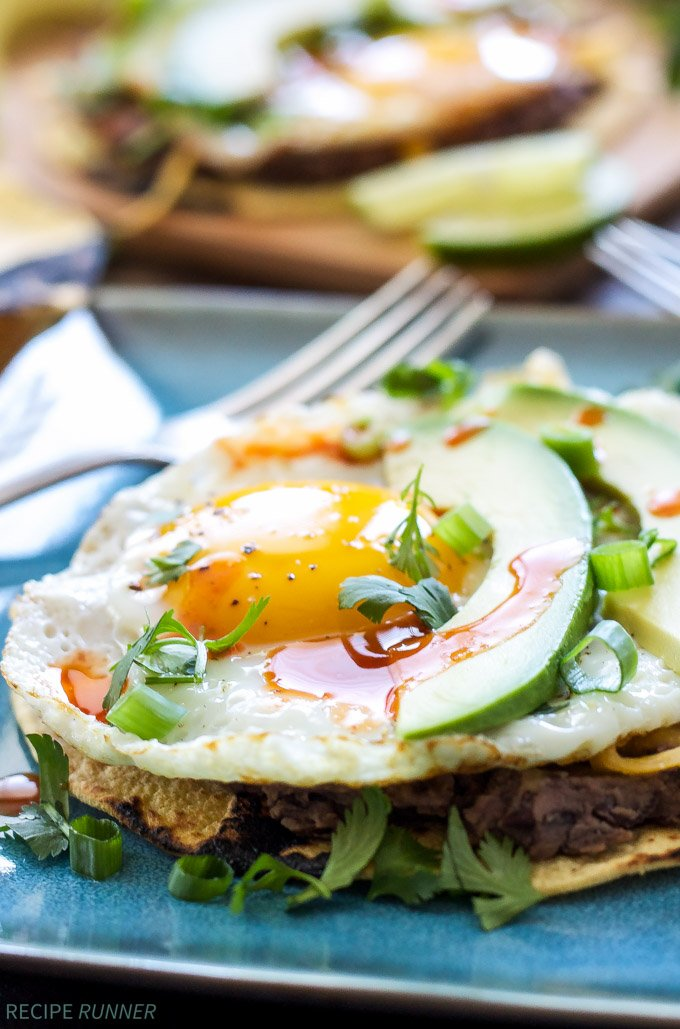 Southwest Breakfast Tostadas | Everything you love about tostadas, but breakfast style with an egg on top!