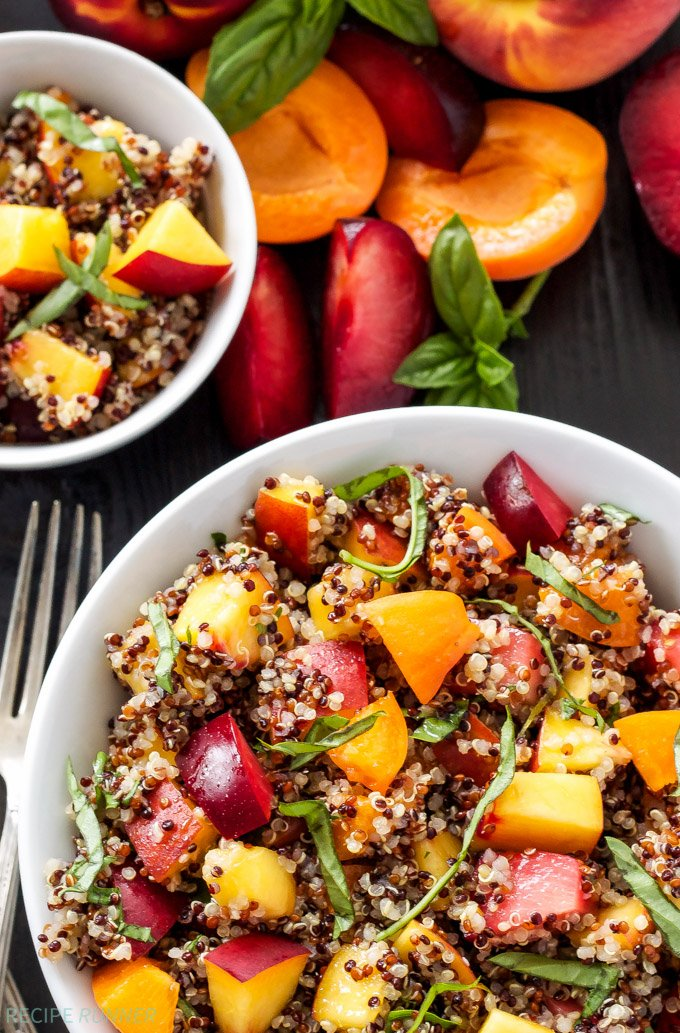 Stone Fruit Quinoa Salad|Stone fruits mixed with quinoa, basil, and a honey lime dressing make a delicious summer salad!