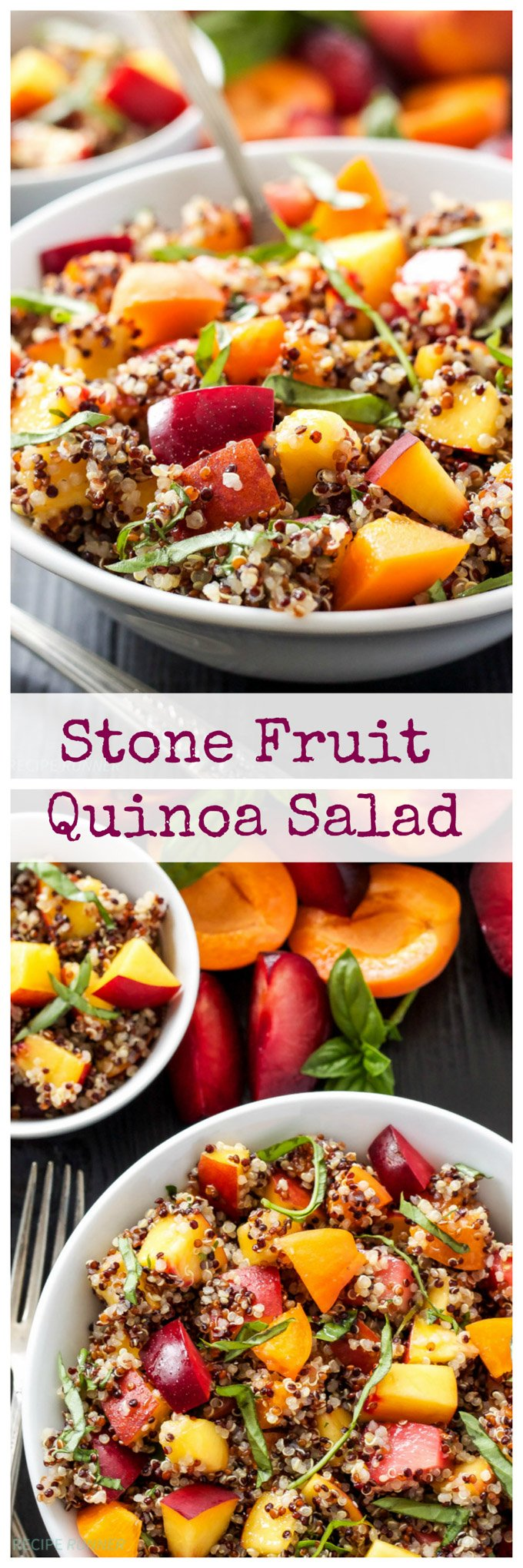 Plums, peaches, nectarines, apricots, and basil mixed with quinoa take your average fruit salad to a whole new level. Toss the salad in a honey lime dressing for a healthy summer side dish!
