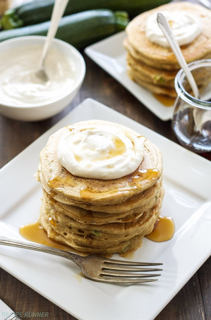 Zucchini Bread Pancakes with Maple Cream Cheese Topping | Whole wheat ...