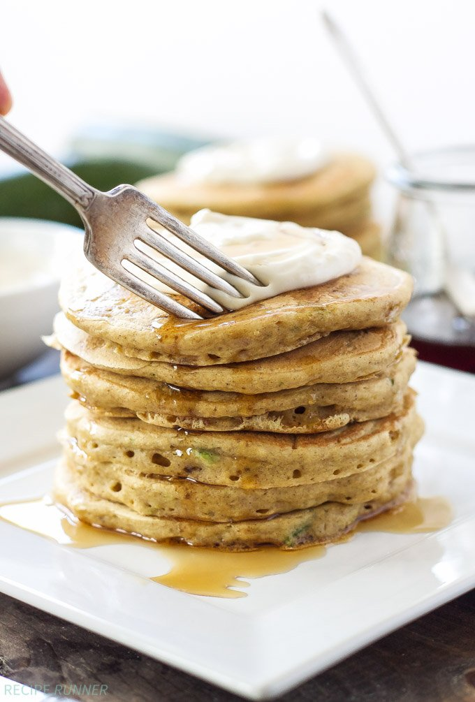 Zucchini Bread Pancakes with Maple Cream Cheese Topping ...