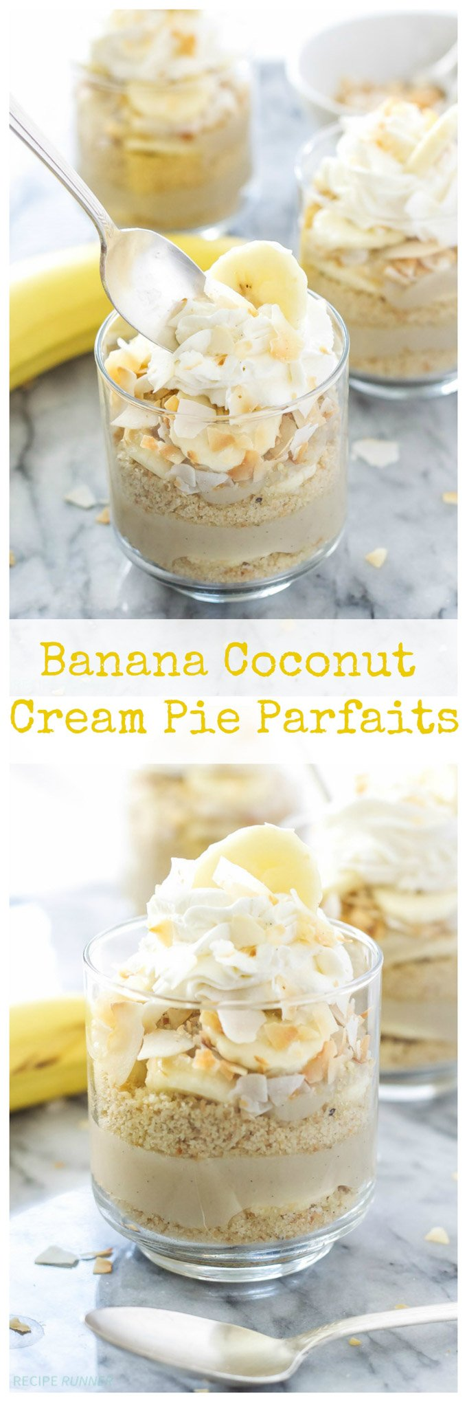 Banana Coconut Cream Pie Parfaits | 2 flavors of pie combined into one delicious and gluten-free parfait!