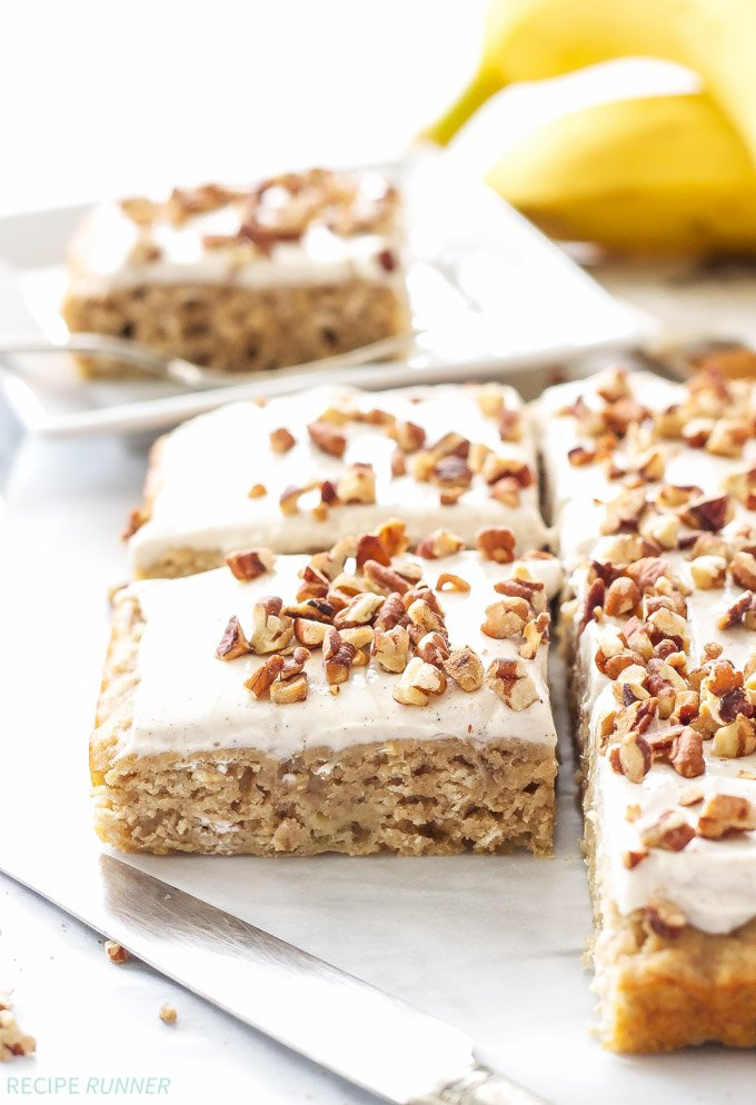 Banana Snack Cake with Cinnamon Cream Cheese Frosting | An easy to make, moist, whole grain, banana cake with a finger licking good cinnamon cream cheese frosting!