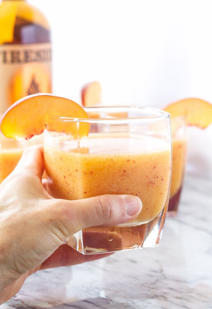 Bourbon Peach Slush | Bourbon, peaches, and ginger ale are blended ...