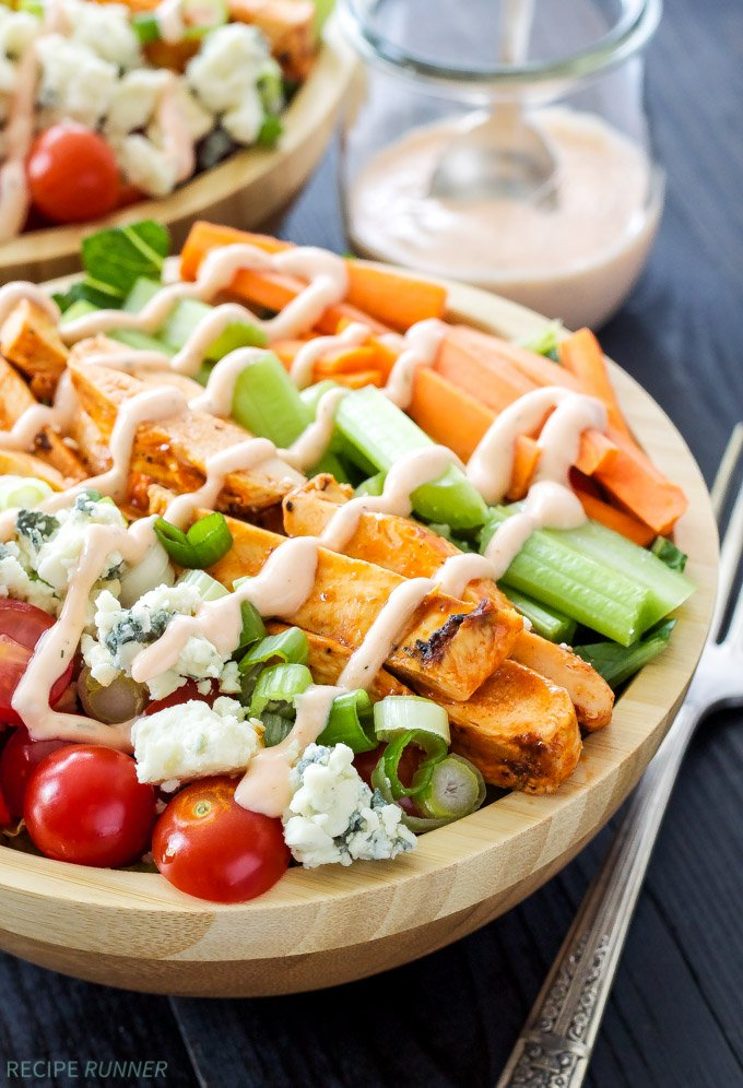 Buffalo Chicken Salad with Spicy Ranch Dressing   Everything you love about buffalo wings without any of the guilt!