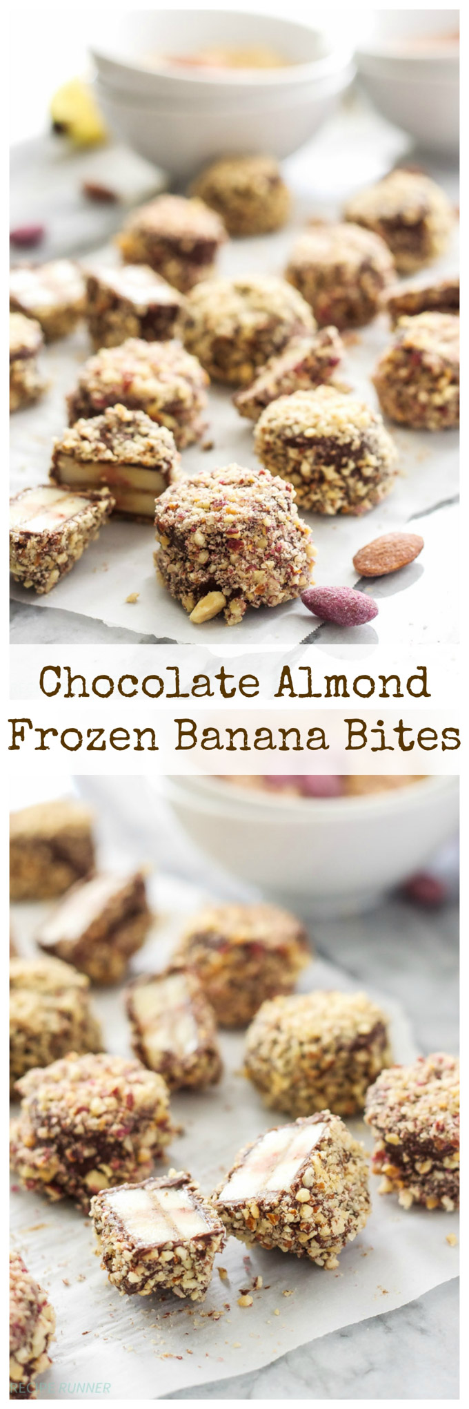 Chocolate Almond Frozen Banana Bites | Slices of banana dipped in chocolate, rolled in almonds, and frozen for the perfect snack or dessert!