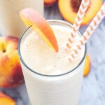 Peach Green Tea Smoothie   This this frosty smoothie uses green tea instead of milk or juice and boy is it delicious!