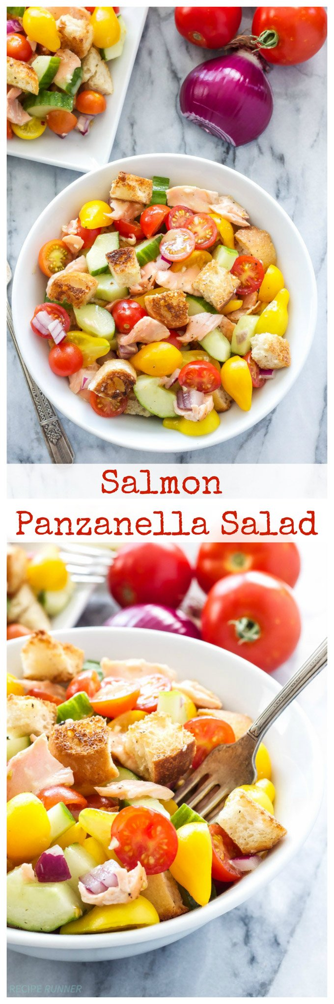 Salmon Panzanella Salad | Tomatoes, cucumbers, crusty bread, and grilled salmon make this panzanella the perfect summer salad!