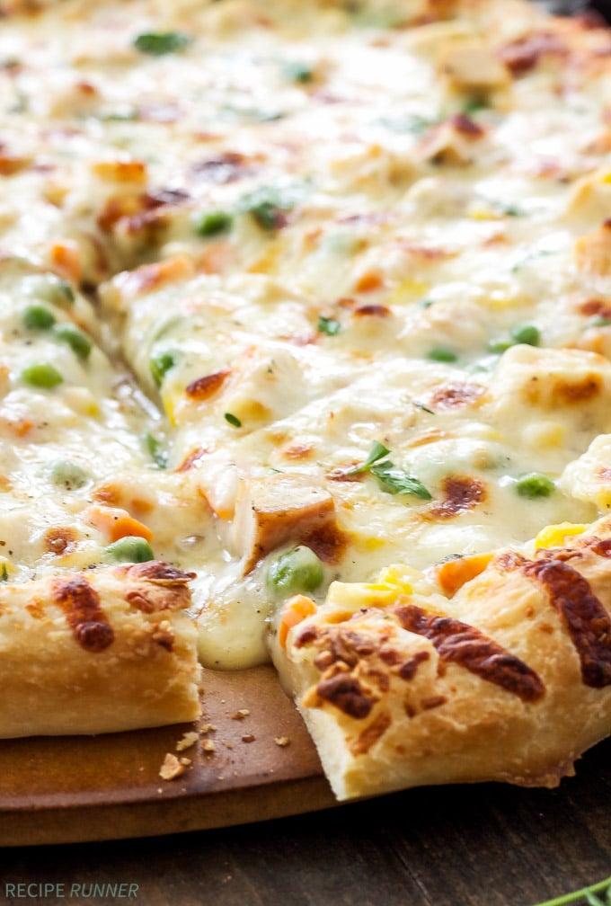Chicken Pot Pie Pizza   Chicken pot pie meets pizza in this over the top comfort food mash-up!