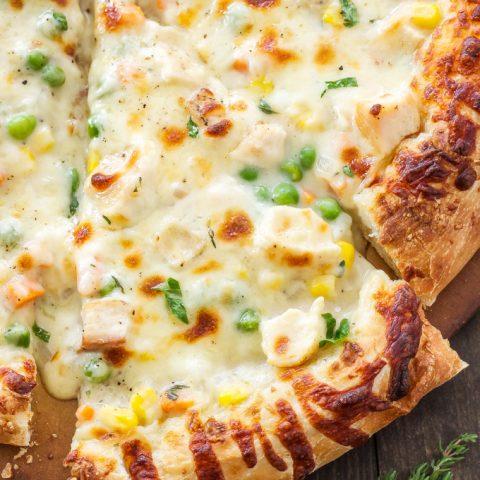 Chicken Pot Pie Pizza | Chicken pot pie meets pizza in this over the top comfort food mash-up!