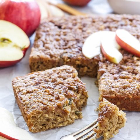 Cinnamon Apple Snack Cake | Perfectly moist and full of apples, this is sure to be your favorite fall snack cake!