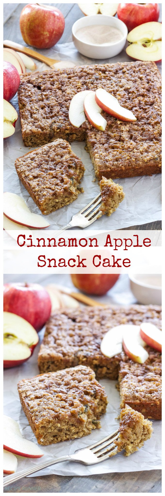 Cinnamon Apple Snack Cake   Perfectly moist and full of apples, this is sure to be your favorite fall snack cake!