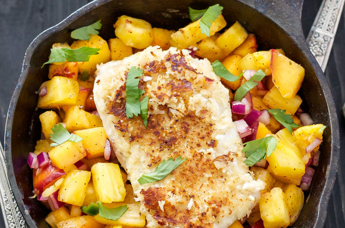 Coconut Almond Crusted Cod with Pineapple Peach Salsa