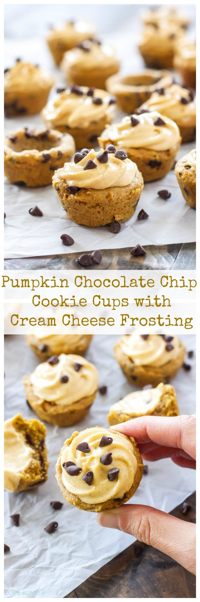 Pumpkin Chocolate Chip Cookie Cups withPumpkin Cream Cheese Frosting | Pumpkin lovers will go crazy for these frosted mini cookie cups!