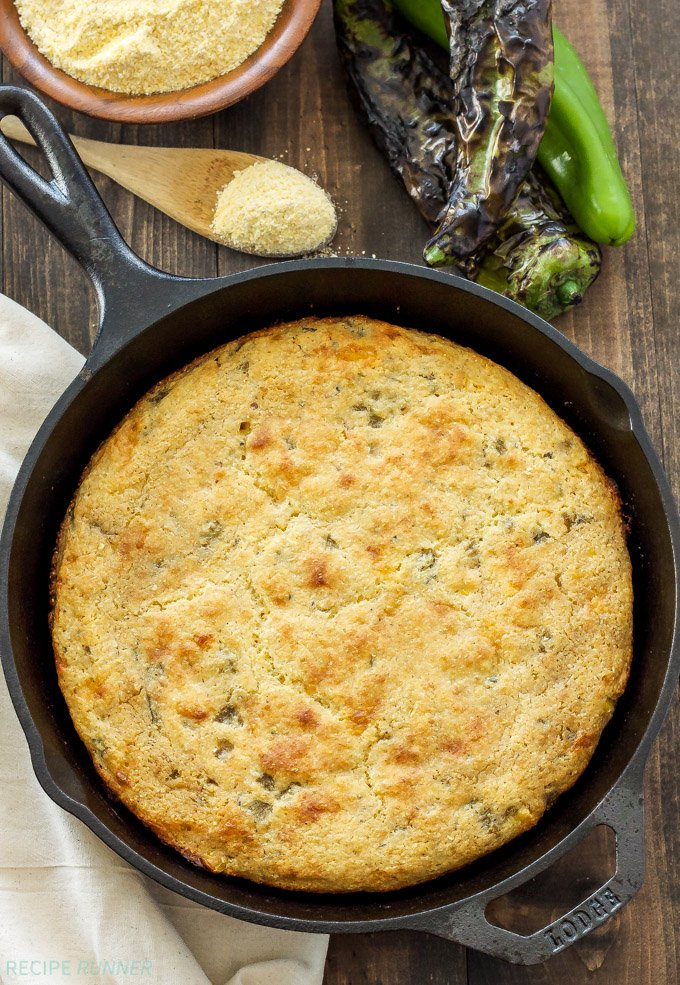 Skillet Cheddar and Green Chile Cornbread | Moist cornbread with a crispy crust filled with Hatch green chiles, cheese, and corn!