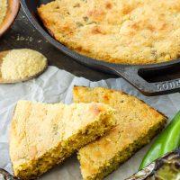 Skillet Cheddar and Green Chile Cornbread
