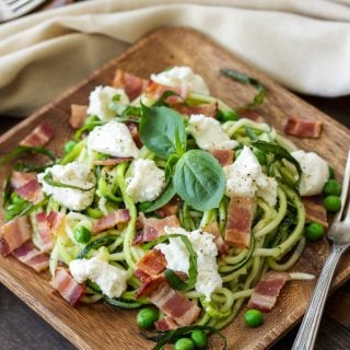 Zucchini Noodles with Bacon, Ricotta, and Peas