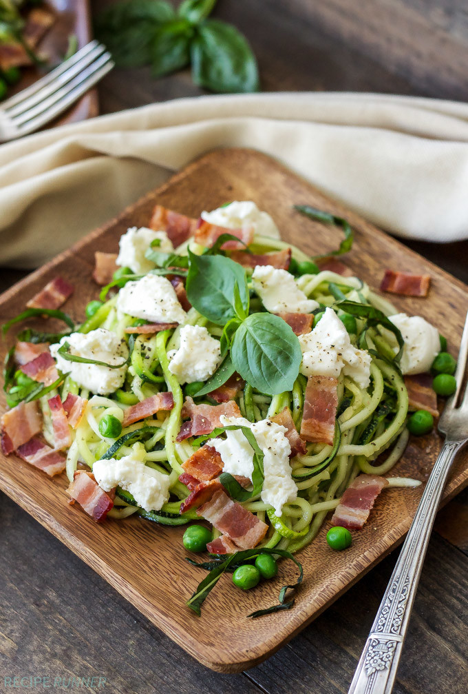 Zucchini Noodles With Bacon Ricotta And Peas Recipe Runner
