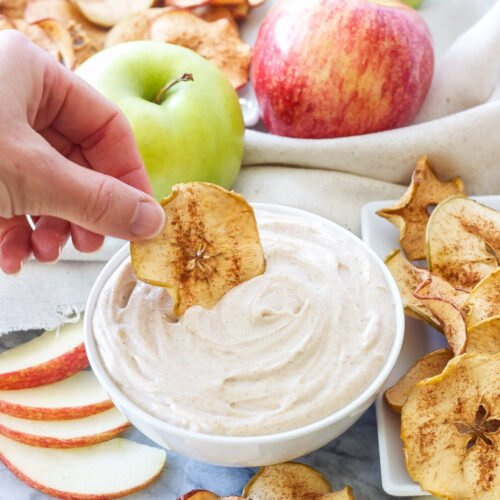 Baked Apple Chips with Snickerdoodle Dip | Cinnamon sugar baked apple chips are perfect for dipping in this cookie inspired dessert dip!